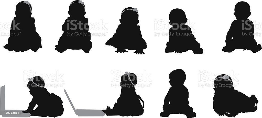 Baby silhouettes sitting up using laptop computer vector art illustration