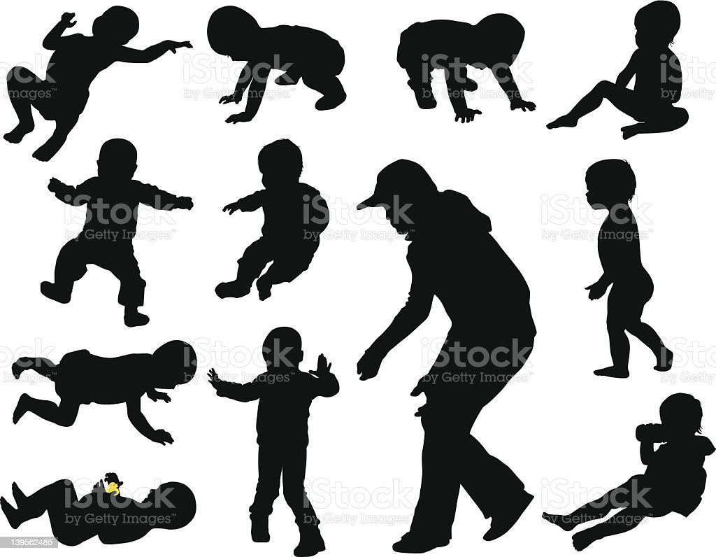 Baby silhouettes vector art illustration