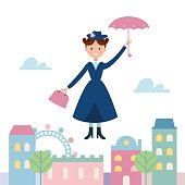 Baby Sitter Flying Over the Town. Cartoon Vector Illustration