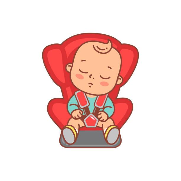 illustrations, cliparts, dessins animés et icônes de chéri s'asseyant dans le siège d'auto de sécurité. - child car sleep