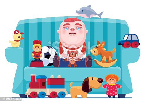 baby sitting on sofa with toys