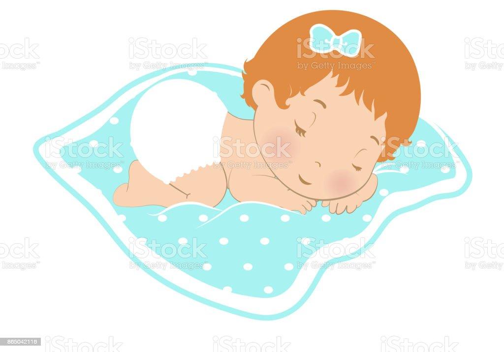 Baby Slaap Logo Icoon Lief Meisje Slaapt In De Luier Pasgeboren Op
