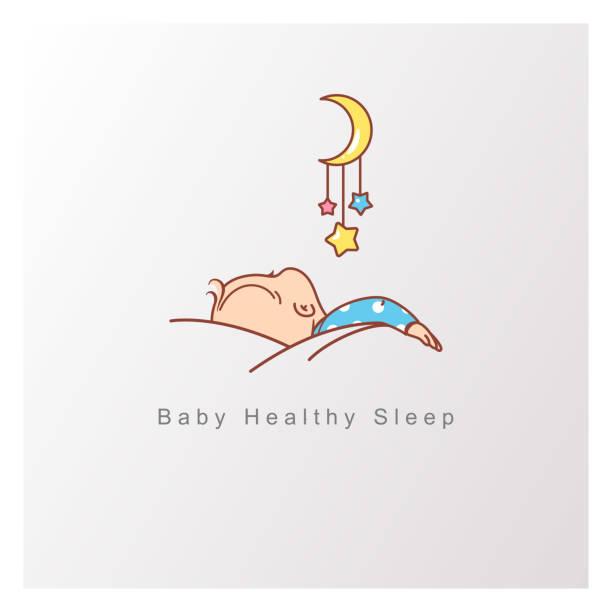 bildbanksillustrationer, clip art samt tecknat material och ikoner med baby sömn logo typ mall. - baby sleeping