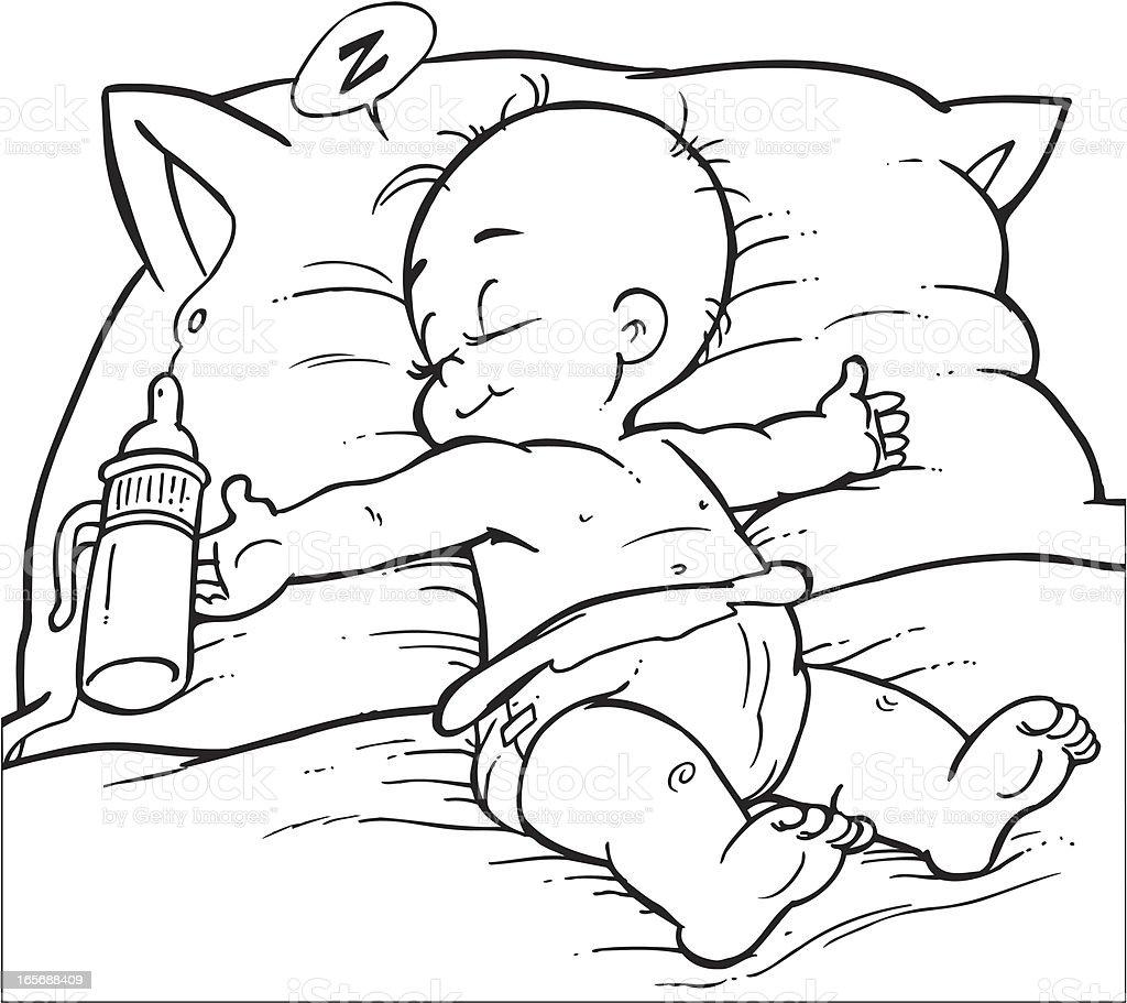 Baby sleep vector art illustration