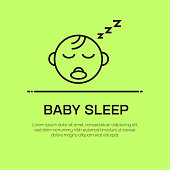 Baby Sleep Vector Line Icon - Simple Thin Line Icon, Premium Quality Design Element