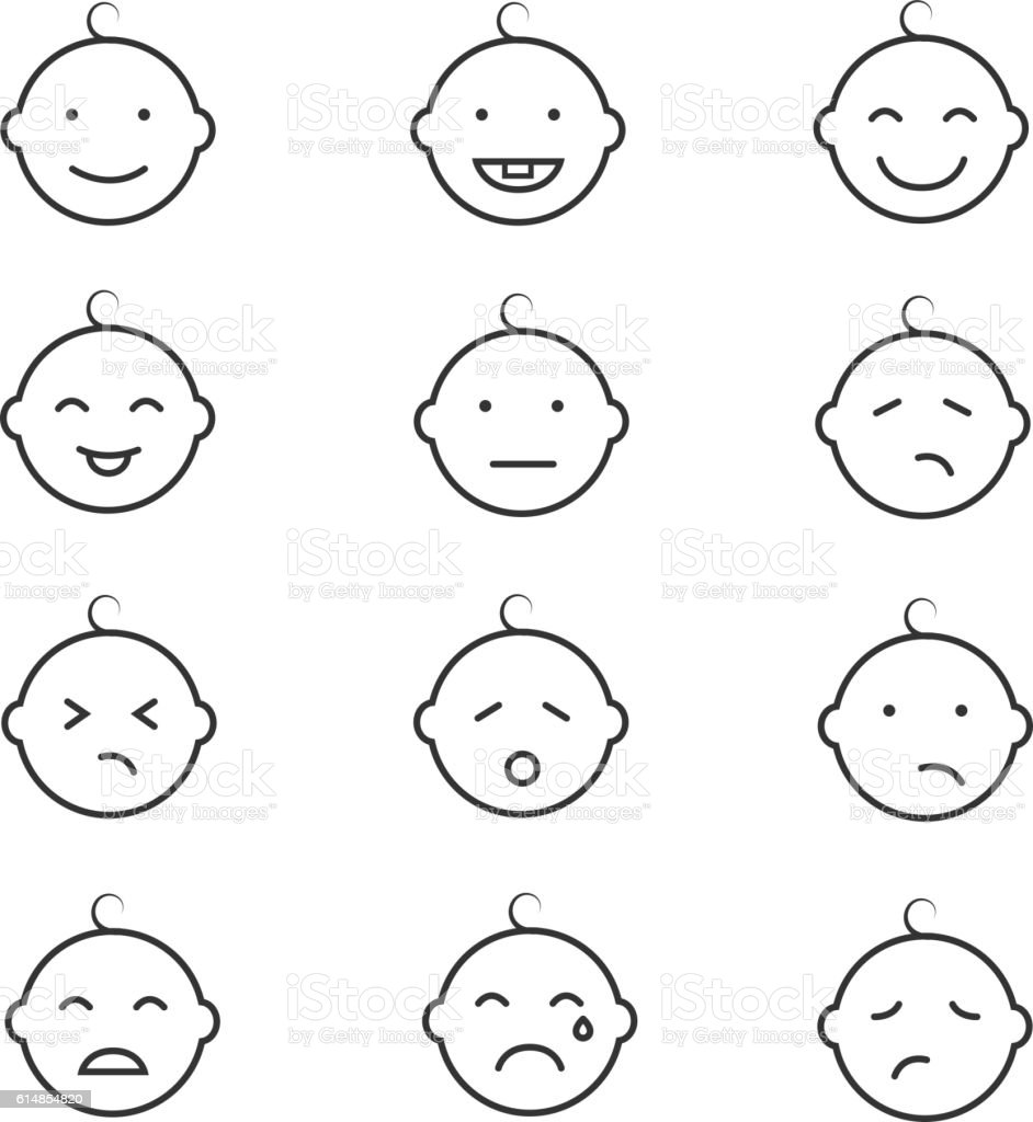 Baby smile face emoticons vector icons vector art illustration