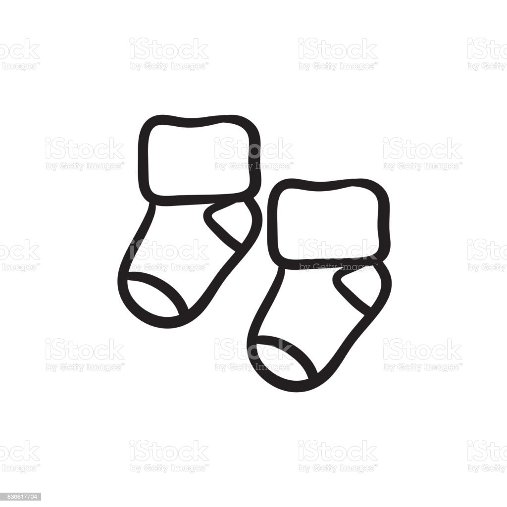 Baby socks sketch icon vector art illustration