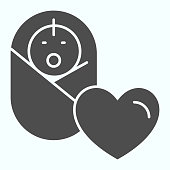 istock Baby solid icon. Baby health vector illustration isolated on white. Baby and a heart glyph style design, designed for web and app. Eps 10. 1200125719