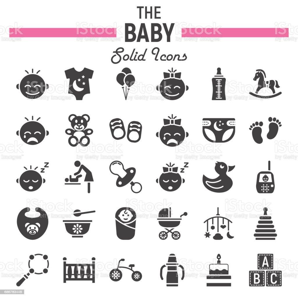 Icono sólido bebé establece, lleno de niños símbolos colección, dibujos vectoriales, ilustraciones de la insignia, paquete de pictogramas aislado sobre fondo blanco, eps 10. - ilustración de arte vectorial