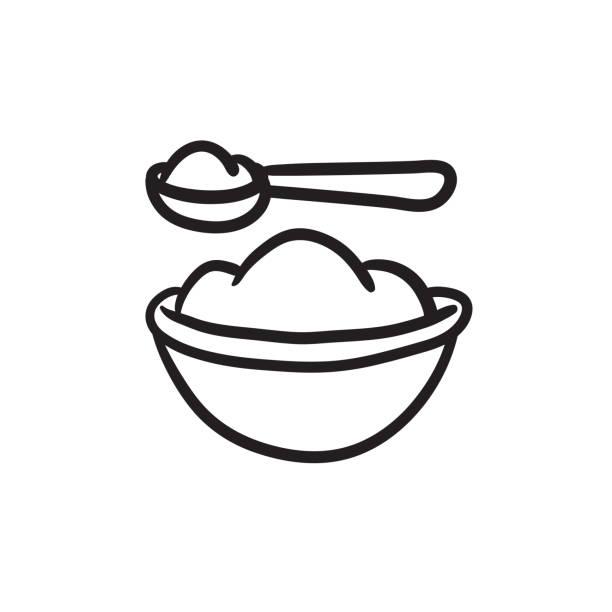 ベビー スプーンやボウルの食事の完全スケッチ アイコン - ベビーフード点のイラスト素材/クリップアート素材/マンガ素材/アイコン素材