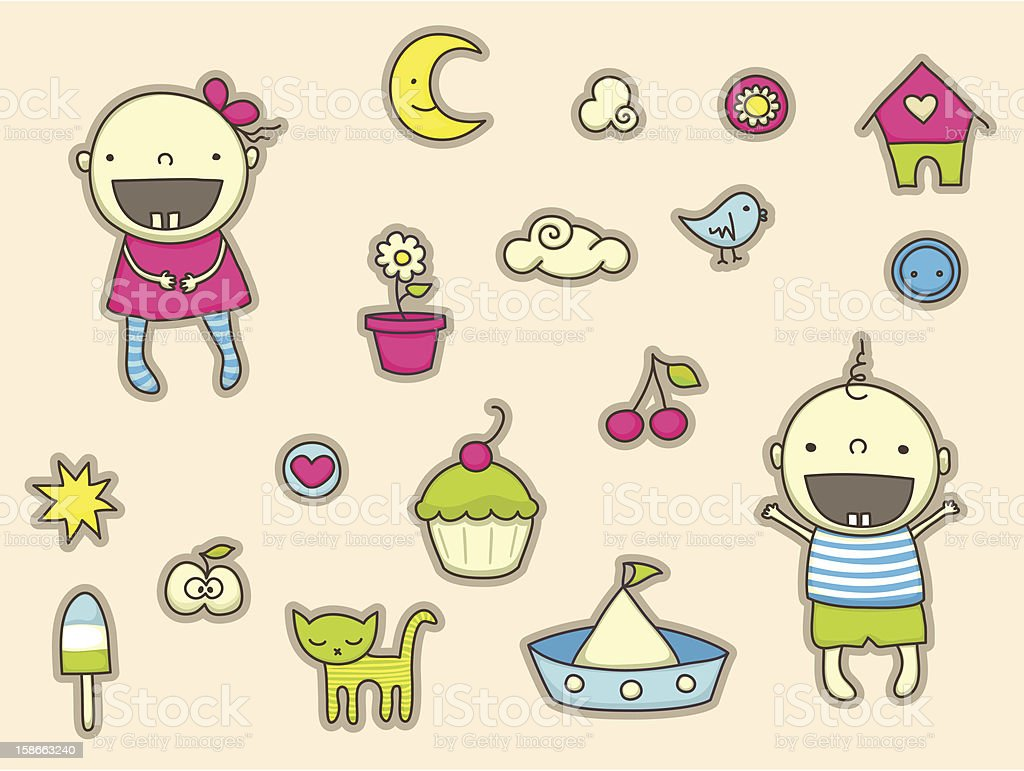 Baby stickers royalty-free stock vector art