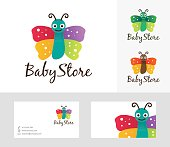 Baby Store vector logo with alternative colors and business card template