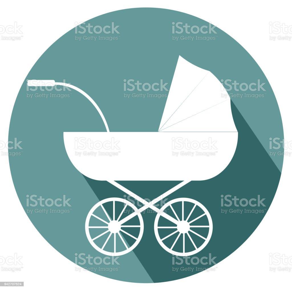Baby Stroller flat design icon
