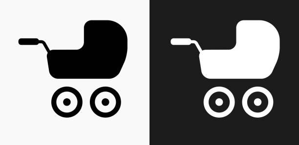 bildbanksillustrationer, clip art samt tecknat material och ikoner med baby stroller ikonen på svart och vit vektor bakgrunder - wheel black background