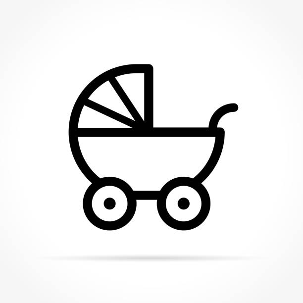 baby stroller icon on white background Illustration of baby stroller icon on white background baby carriage stock illustrations