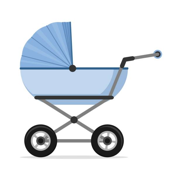 Baby stroller isolated on white background. Children pram, baby carriage Baby stroller isolated on white background. Children pram, baby carriage vector illustration baby carriage stock illustrations