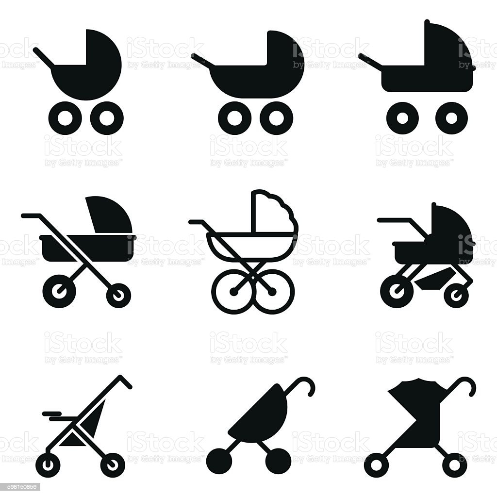 Baby stroller vector icons. vector art illustration