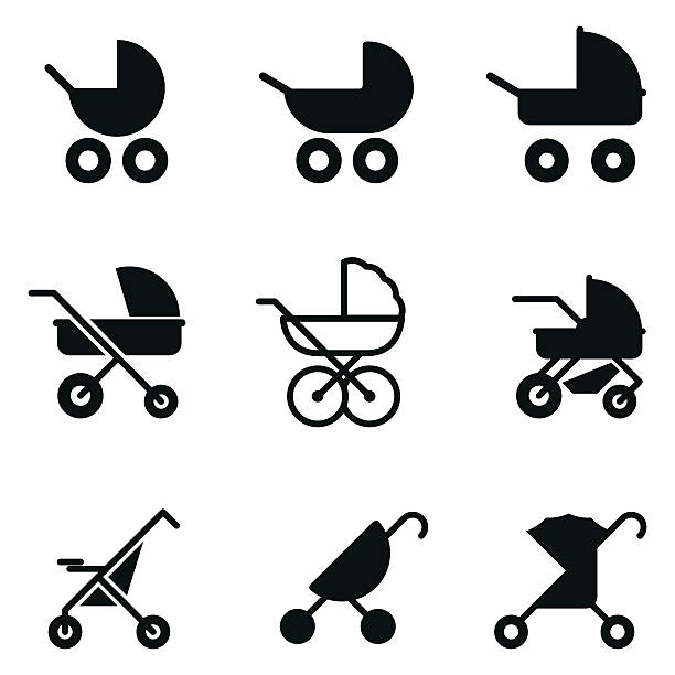 Baby stroller vector icons. Baby stroller vector icons. Simple illustration set of 9 baby stroller elements, editable icons, can be used in logo, UI and web design baby carriage stock illustrations