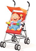 A happy baby with a rattle in a stroller isolated on white. EPS 10, grouped and labeled in layers.