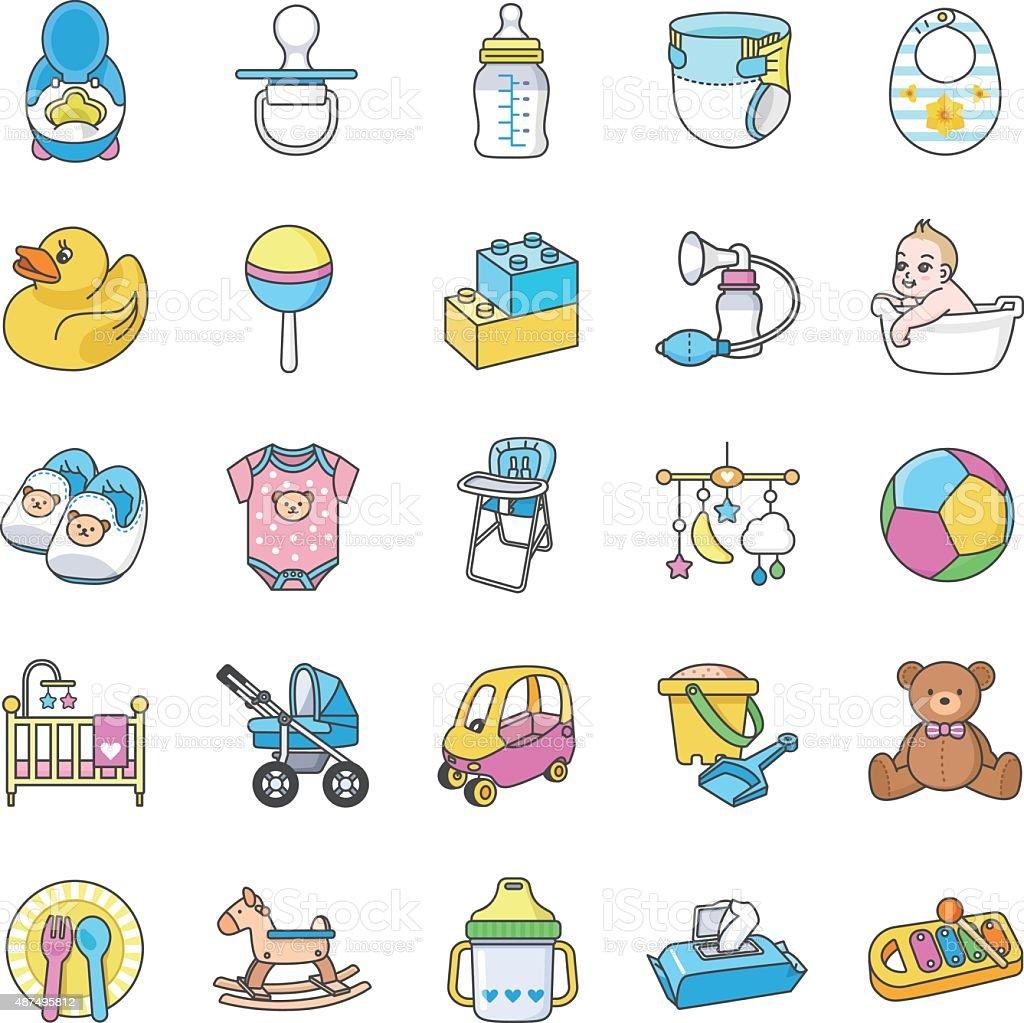 Baby Stuff icons vector art illustration