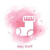 Vector baby sock line icon over watercolor background.