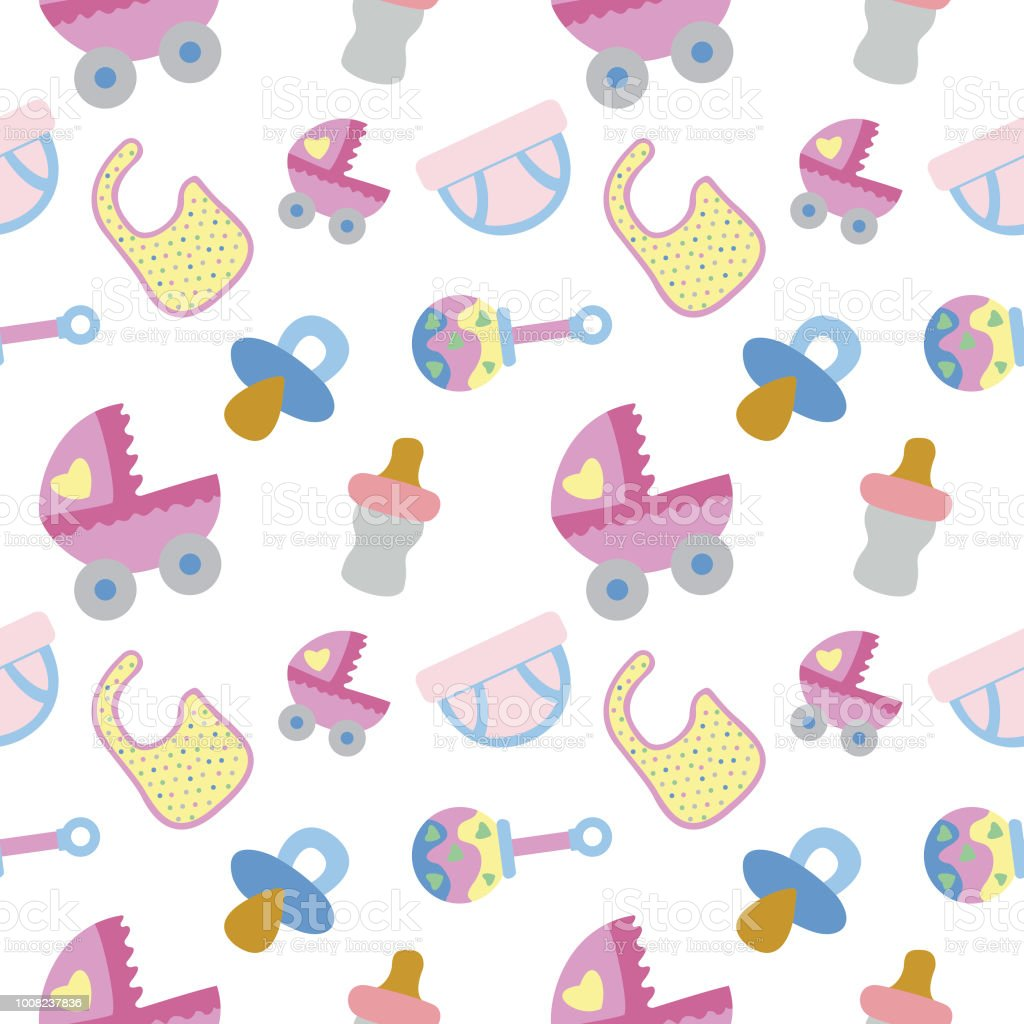 Spullen Voor Baby.Baby Spullen Naadloze Patroon Vectorillustratie Stockvectorkunst En