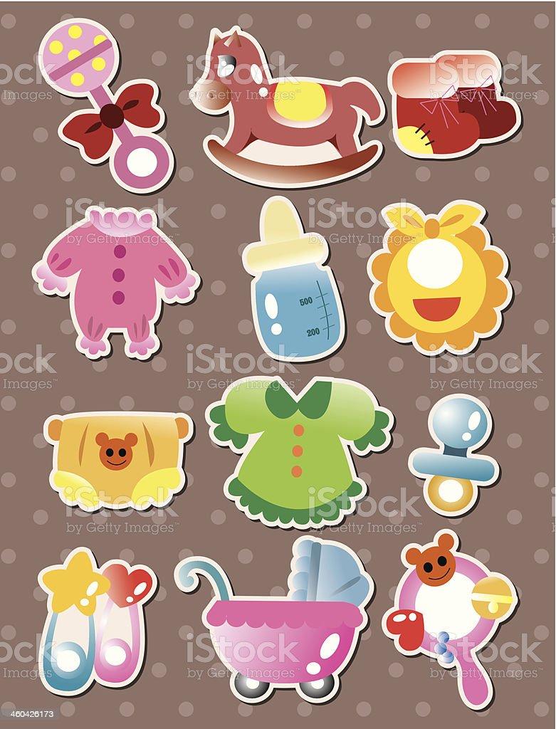 baby stuff stickers vector art illustration