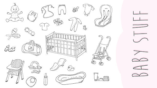 Baby Stuff The set of baby stuff in doodle style. baby clothing stock illustrations