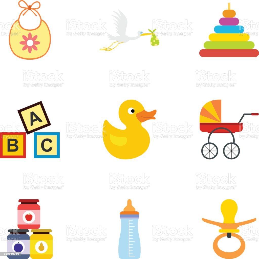 Jeu de bébé fournitures icônes, style plat - Illustration vectorielle
