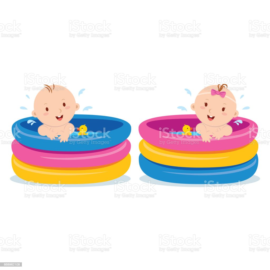 Baby swimming in kid inflatable pool vector art illustration
