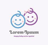 Baby Symbol, Child Vector Symbol. Happy Kids Illustration. Baby Sign Vector Illustration. Boy and girl symbol. Happy Smile kids face.