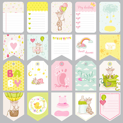 Baby Tags. Baby Banners. Scrapbook Labels. Cute Cards