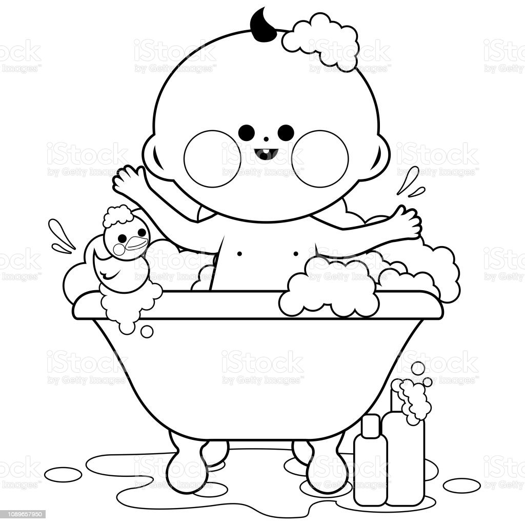 Baby Taking A Bath Black And White Coloring Book Page Stock ...