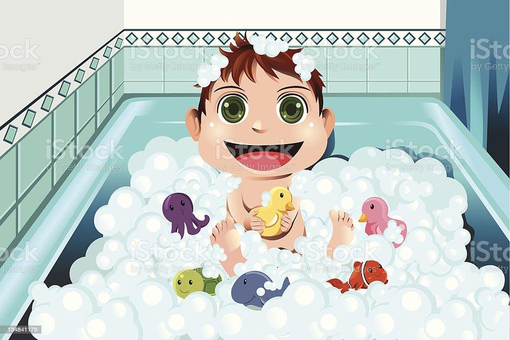 Baby taking bubble bath vector art illustration