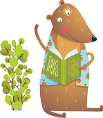 Bear cub cute sitting studying and learning adorable animal illustration. Vector EPS10.