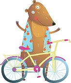 Bear cub cute colorful sporty adorable animal illustration. Vector EPS10.