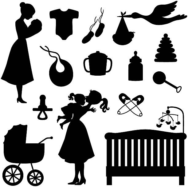 Baby Theme Icons and Silhouettes Baby Theme Icons and Silhouettes including onesie, booties, bib, pacifier crib, rattle, safety pins, stork, stroller, etc, infant bodysuit stock illustrations