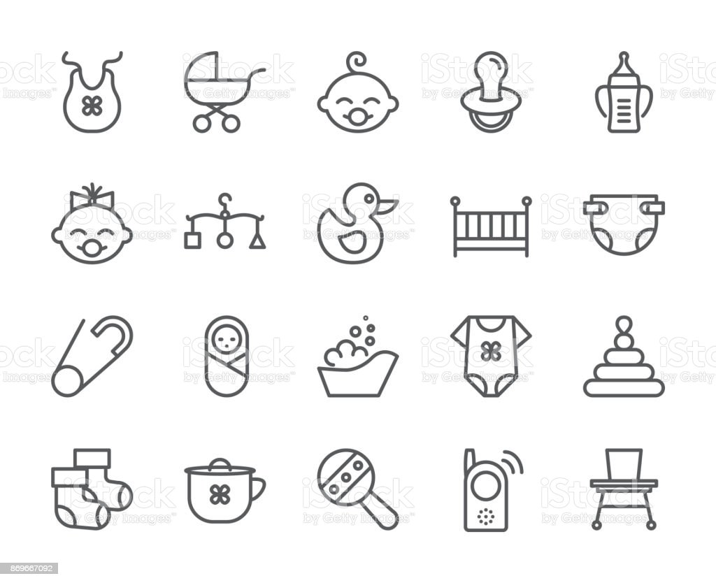 Baby theme pixel perfect 48X48 icons. Pictograms of baby, pram, crib, mobile, toys, rattle, bottle, diaper, bathtub, cloth, bib and other newborn related elements. Line out symbols. vector art illustration