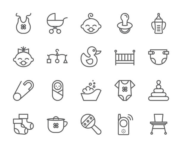 Baby theme pixel perfect 48X48 icons. Pictograms of baby, pram, crib, mobile, toys, rattle, bottle, diaper, bathtub, cloth, bib and other newborn related elements. Line out symbols. Baby theme pixel perfect 48X48 icons. Pictograms of baby, pram, crib, mobile, toys, rattle, bottle, diaper, bathtub, cloth, bib and other newborn related elements. Line out symbols Simple silhouette baby carriage stock illustrations