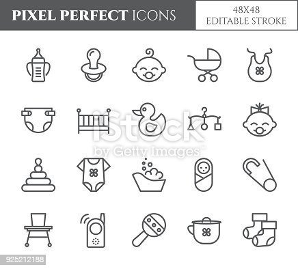 Baby theme pixel perfect 48X48 icons. Pictograms of baby, pram, crib, mobile, toys, rattle, bottle, diaper and other newborn related elements. Line out symbols. Simple silhouette. Editable stroke