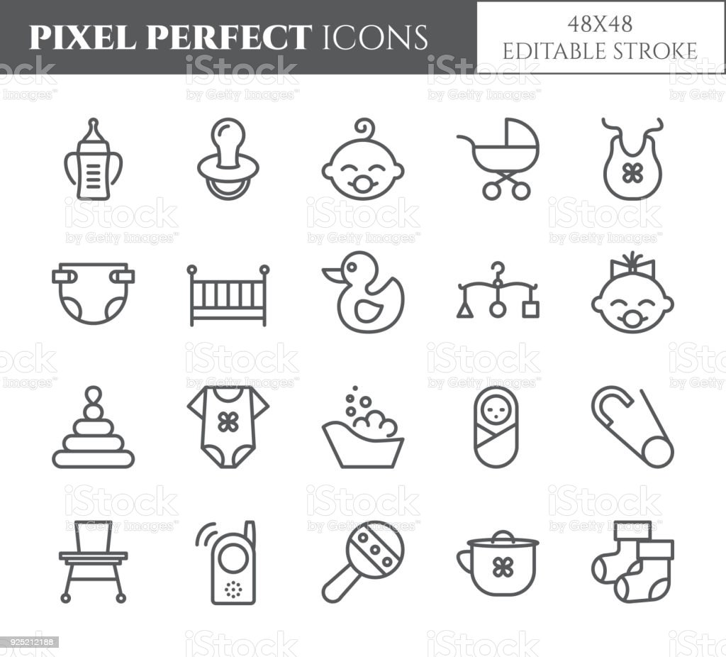 Baby theme pixel perfect 48X48 icons. vector art illustration