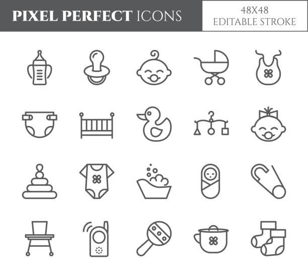 ilustrações, clipart, desenhos animados e ícones de pixel de bebê tema perfeito 48 x 48 ícones. - bebês