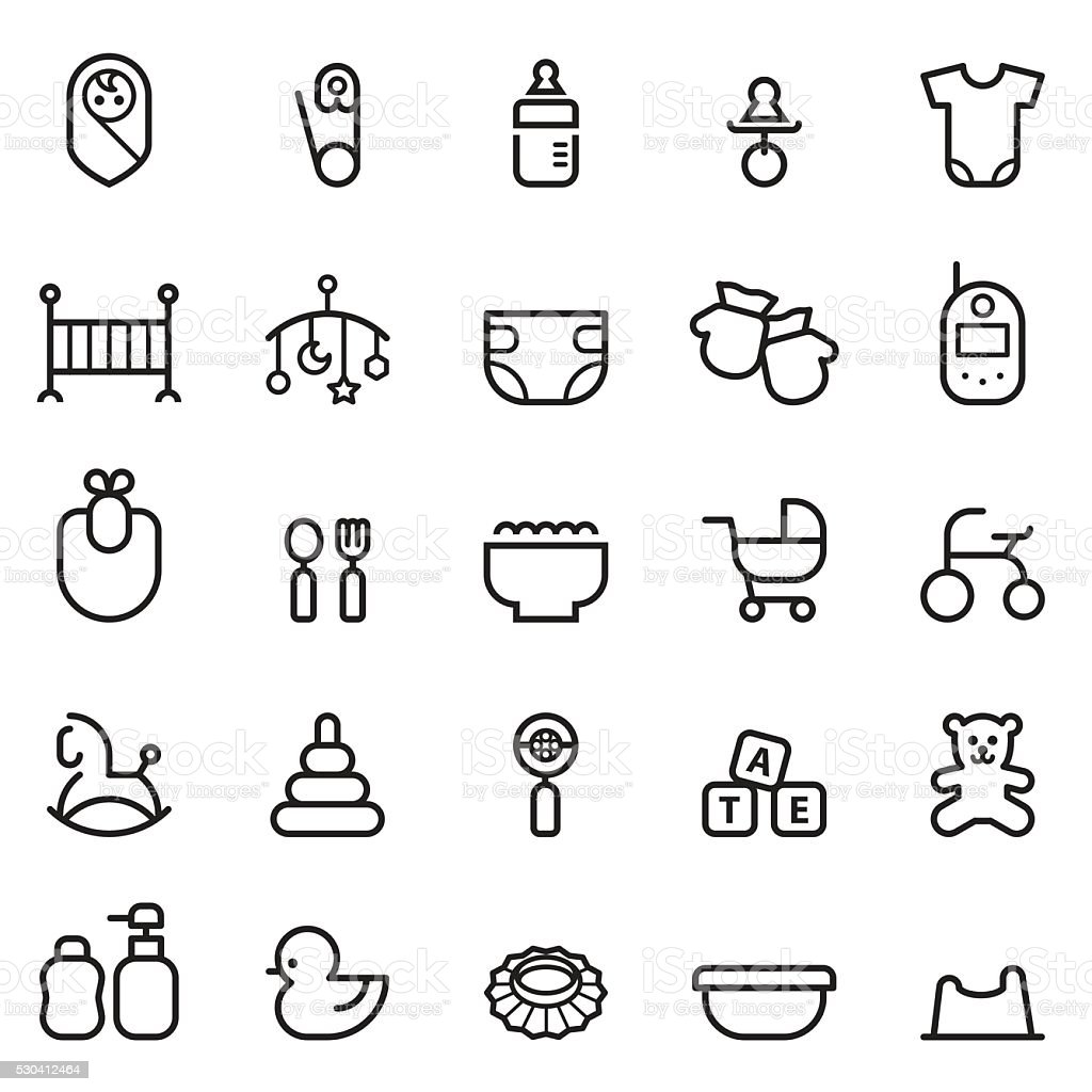 Baby Thin Line Icons vector art illustration