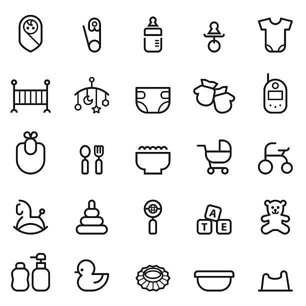 Baby Thin Line Icons Baby Thin Line Icons infant bodysuit stock illustrations