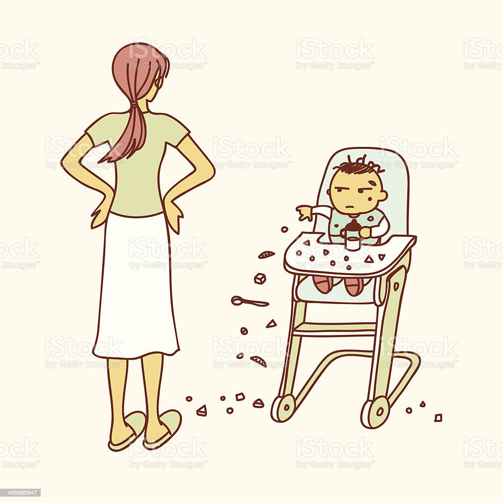 baby throwing food on the floor royalty-free stock vector art