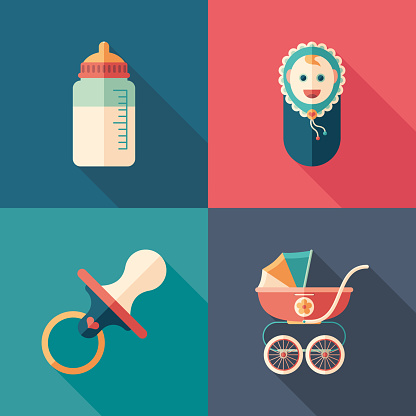 Baby time set of flat square icons with long shadows.