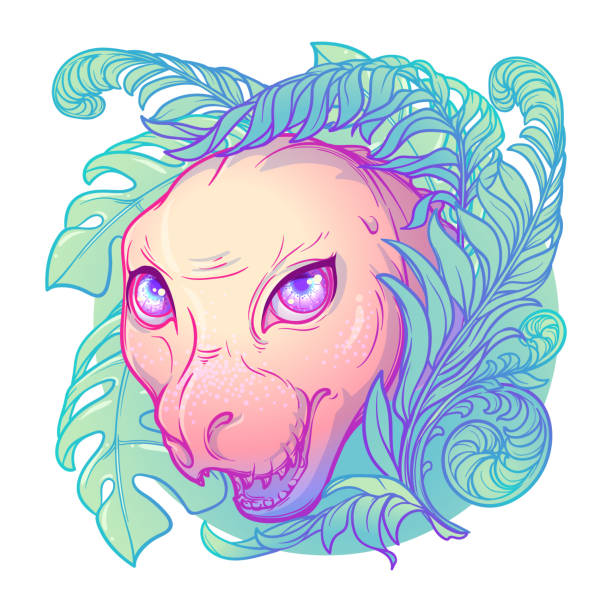baby tirannosaurus rex head in a tropical lush. cute animal drawing - fossilized leaves stock illustrations