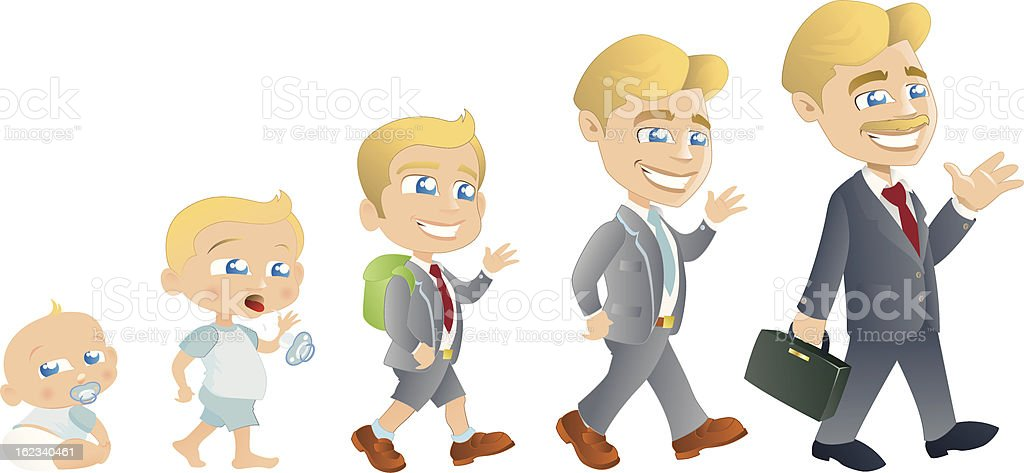 Baby to Man Evolution royalty-free stock vector art