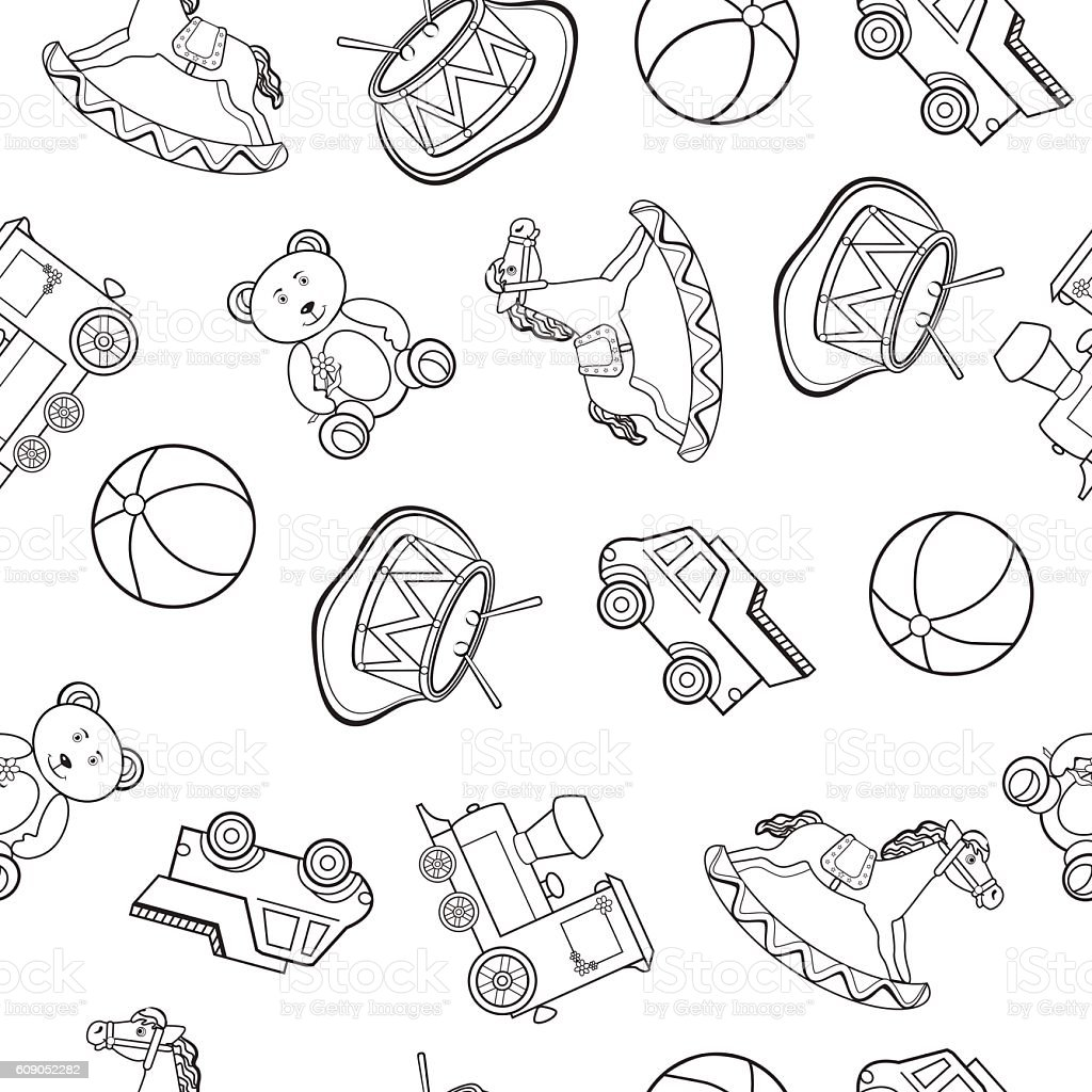 Baby Toy Drawings Car Bear Horse Train Vector Seamless Pattern Stok