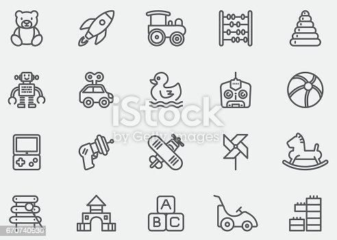 Baby Toy Line Icons